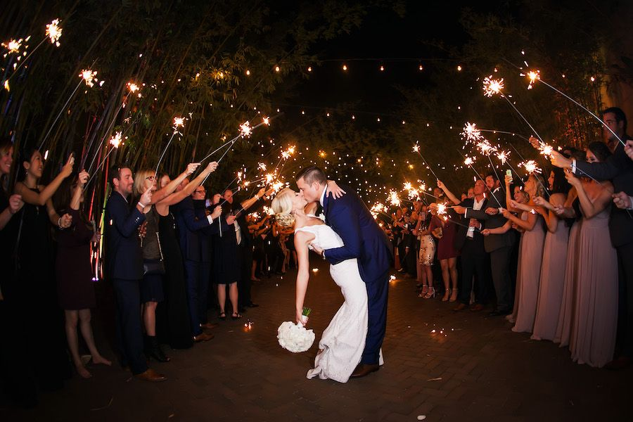 Bride and Groom Wedding Reception Sparkler Exit at Downtown St. Petersburg Wedding Venue NOVA 535