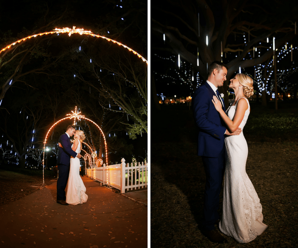 St. Pete Bride and Groom Wedding Portrait Vinoy Park at Night | Downtown St. Pete Wedding at Nova 535