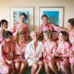 Bridesmaids and Bride Getting Ready in Pink Floral Robes | St. Pete Wedding Venue Nova 535