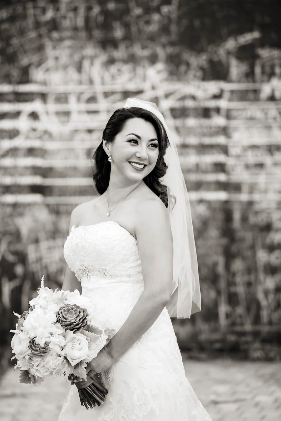 Outdoor, Bridal Wedding Portrait in Strapless David Tutera Wedding Dress and Veil