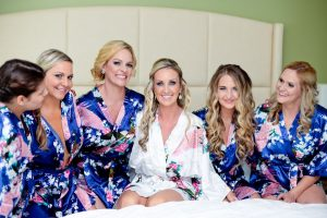 Florida Bride and Bridesmaids Getting Ready Wedding Portrait in Silk Robes