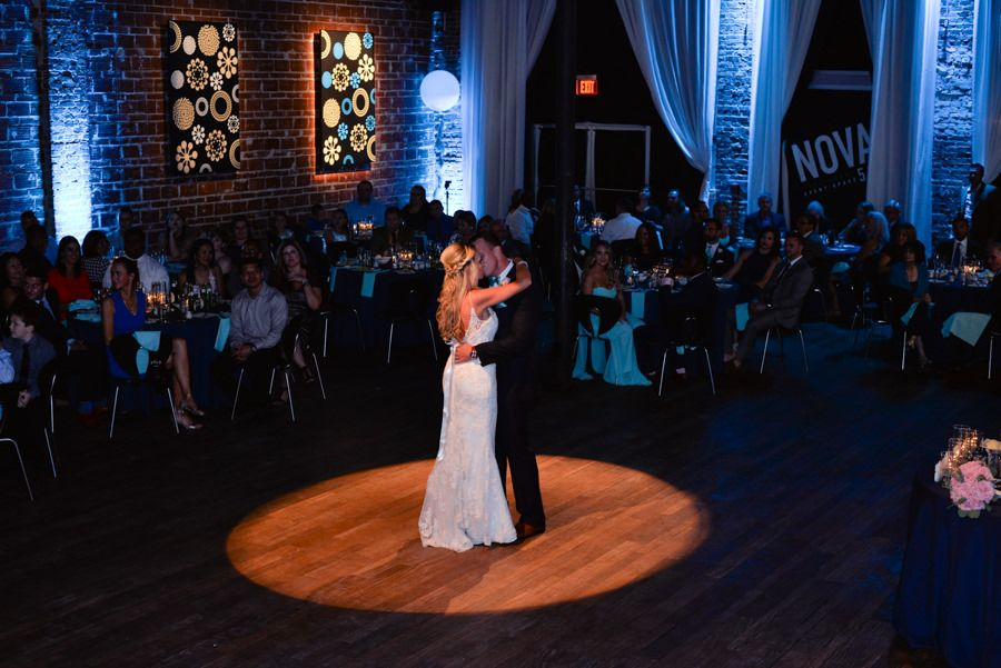 Bride and Groom First Dance Wedding Portrait | Unique Modern Downtown St. Pete Wedding Venue NOVA 535