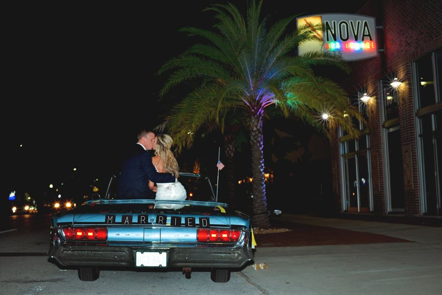 St. Petersburg Bride and Groom Wedding Portrait with Vintage Car | Unique Romantic, Modern Downtown St. Pete Wedding Venue NOVA 535