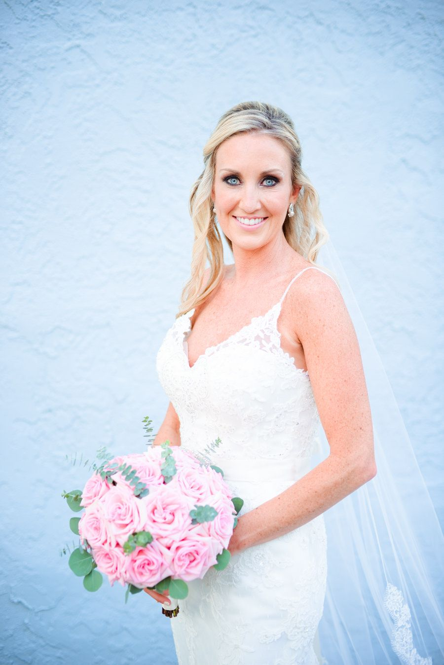 St. Pete Bridal Portrait in Lace Bridal Wedding Dress Blush Pink Rose Bouquet