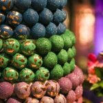 Wedding Cake Pop Cake in Blue, Green, and Pink with Gold