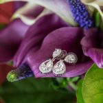 Teardrop Bridal Earrings in Purple Calla Lily Bouquet with Greenery | Plum and Silver Traditional Meets Modern Downtown St Pete Wedding at Historic Venue NOVA 535