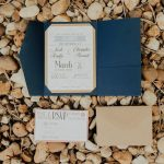 Cute Rustic Light and Navy Blue and Brown Paper Wedding Invitation Suite