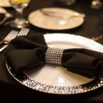 Modern Black and Silver Wedding Reception Table Setting with Silver Charger and Jeweled Napkin Ring and Black Linens | Historic DTSP Wedding Venue NOVA 535