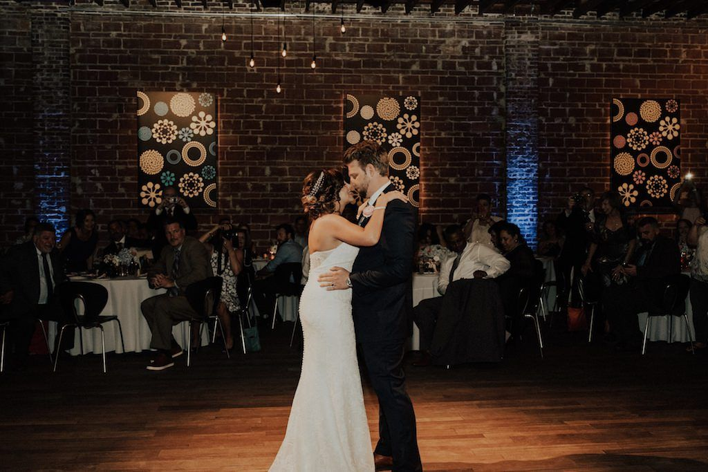 Modern Wedding Reception First Dance Portrait | historic Downtown St Petersburg Wedding Venue NOVA 535 | pink boho chic decor