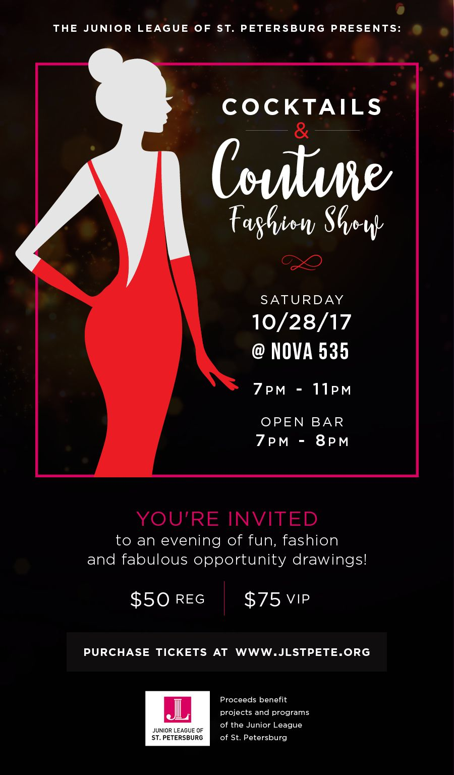 2017 10-28 JLSP Cocktails and Couture Fashion Show at DTSP venue NOVA 535 flyer