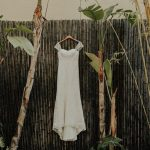 Davids Bridal Sheer Strap Lace Wedding Dress on Hanger in Bamboo Garden   Tampa Bay Wedding Venue NOVA 535