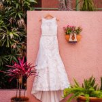 Eddy K Illusion Neckline Belted Lace Wedding Dress | Whimsical Dusty Purple Wedding at Downtown St Pete Historic Venue NOVA 535