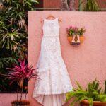 Eddy K Illusion Neckline Belted Lace Wedding Dress | Whimsical Dusty Purple Wedding at Downtown St Pete Historic Venue NOVA 535