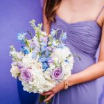 Bridesmaid Portrait Wearing Spaghetti Strap Dusty Purple Dessy Dress with Pastel Purple Rose, Light Blue Flower, White Hydrangea and Greenery Bouquet | Whimsical Purple and Blue Wedding at DTSP Historic Venue NOVA 535