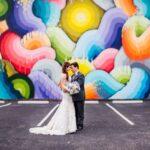 DTSP Street Art Industrial Wedding Portrait, Bride with Blue, Dusty Purple, and White Bouquet | Whimsical Dusty Purple Wedding at Downtown St Pete Historic Wedding Venue NOVA 535