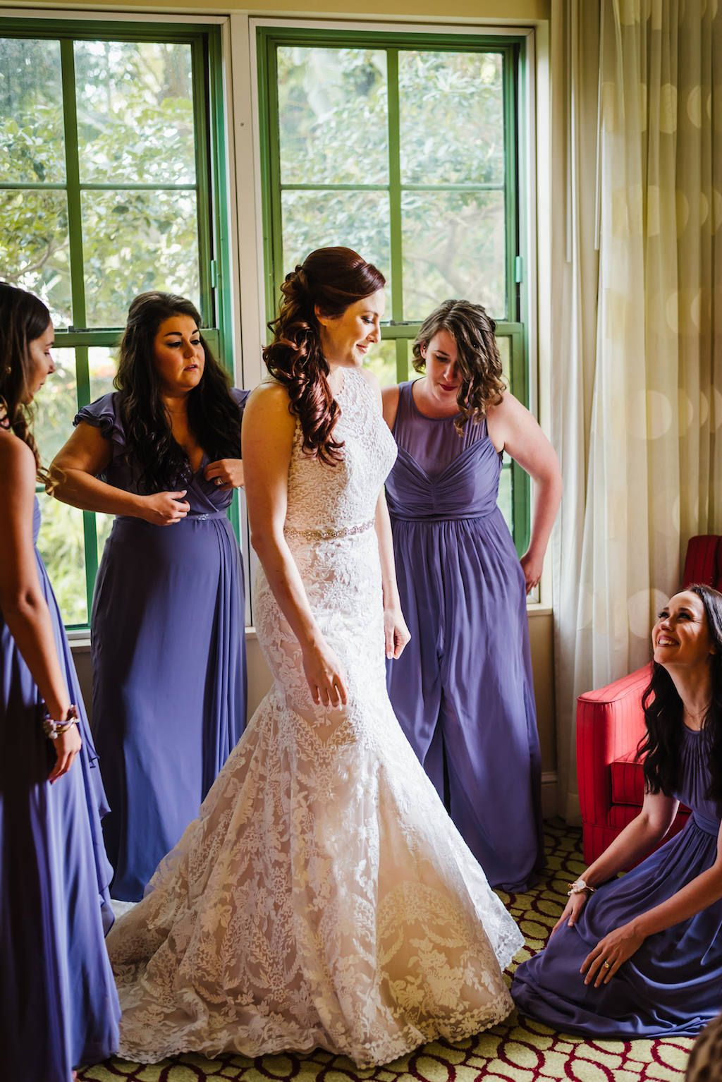Bride Getting Ready Portrait, Bridesmaids in Dusty Purple Dessy Dresses, Bride in Belted Trumpet Eddy K Lace Wedding Dress