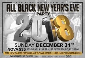 2017 12-31 All Black New Years Eve Party 2018 at NOVA 535 flyer