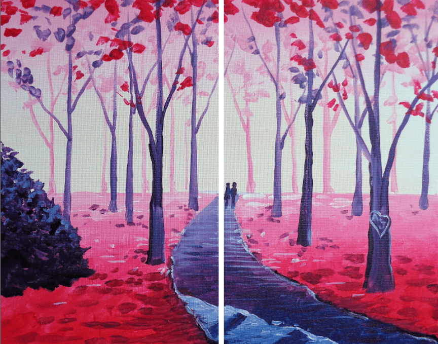 2018 02-14 Wednesday at NOVA 535 PaintNite - A Valentine Stroll Partner Painting