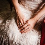 Bridal Portrait in Lace Wedding Dress wearing Opal Engagement Ring | Whimsical Dusty Purple and Blue Wedding at DTSP Historic Venue NOVA 535