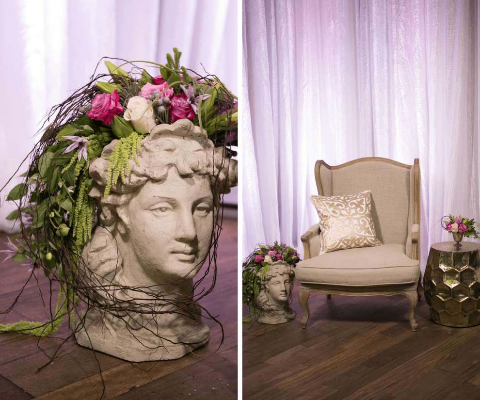 French Marie Antoinette Inspired Wedding Reception Lounge Decor Statue with Tropical Flowers and Greenery | Luxurious St Pete Wedding at Unique Venue NOVA 535