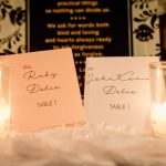 Elegant Black and White St Pete Wedding Reception with Stylish Printed Table Numbers with Votive Candles | Unique Downtown St Pete Wedding Venue NOVA 535