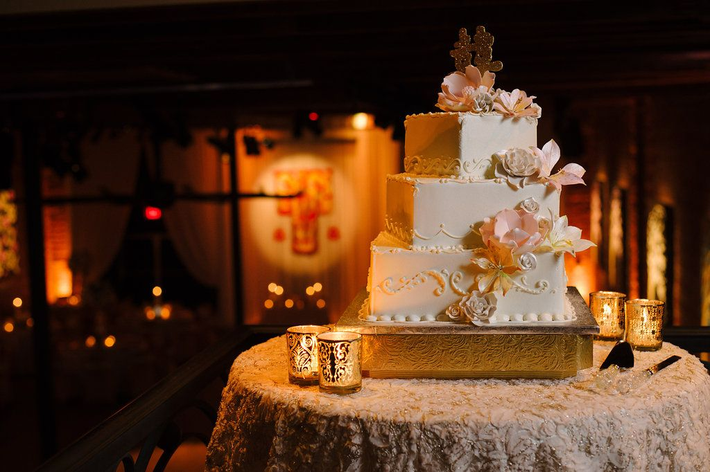 Blush Pink and Gold Multicultural St Pete Wedding Reception with Three Tier Square Wedding Cake with Sugar Flowers, Gold Glitter Chinese Character Cake Topper, on Gold Cake Stand with Votive Candles on Textured Linen | Unique Downtown St Pete Venue NOVA 535