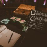 Polaroid guest book station with chalkboard signage