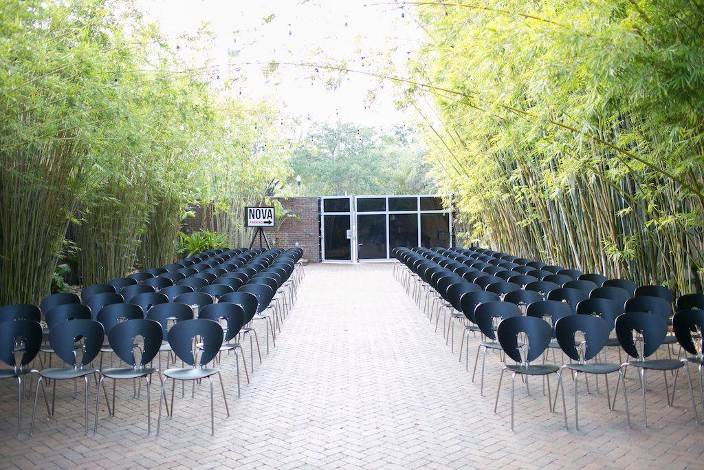 Modern wedding ceremony in bamboo gardens at NOVA 535