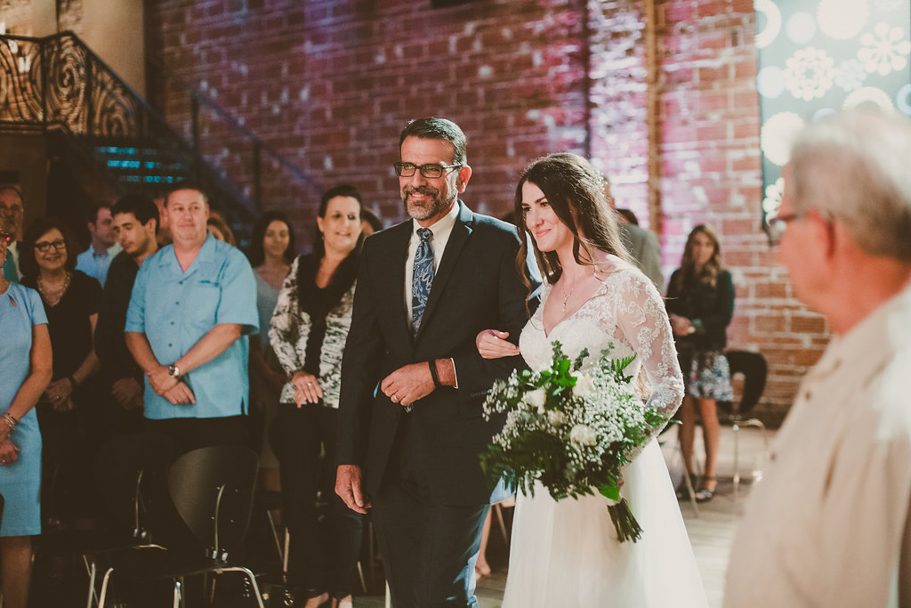 Father of the bride walking bride down the aisle at modern industrial St. Pete, Florida wedding venue Nova 535
