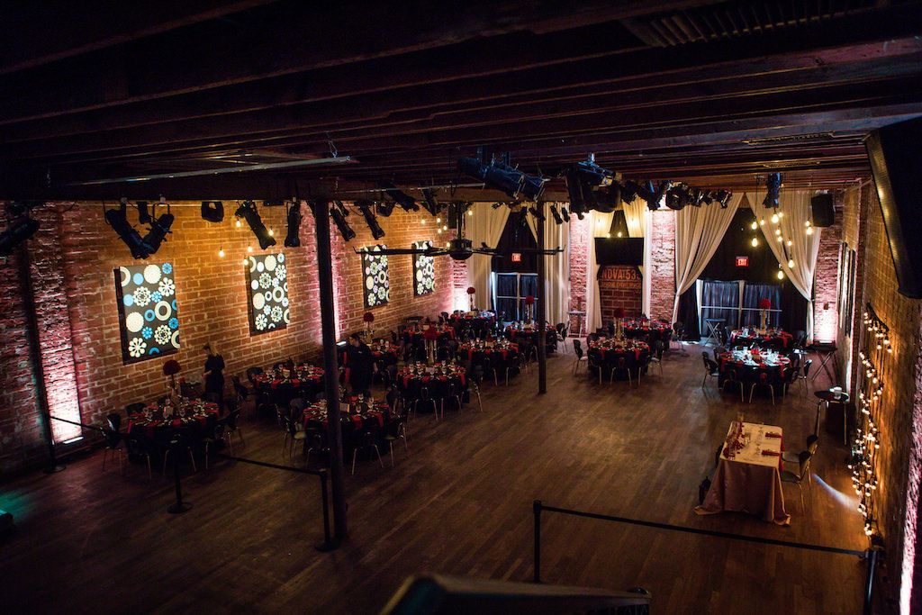 Glam black and red reception at downtown St. Pete wedding venue NOVA 535