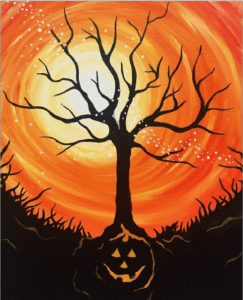 2018 10-17 PaintNITE painting Halloween Tree at NOVA 535 downtown St. Pete