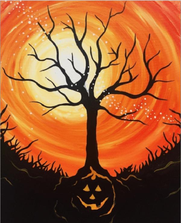 2018 10-17 PaintNITE painting Halloween Tree at NOVA 535 downtown St. Pete