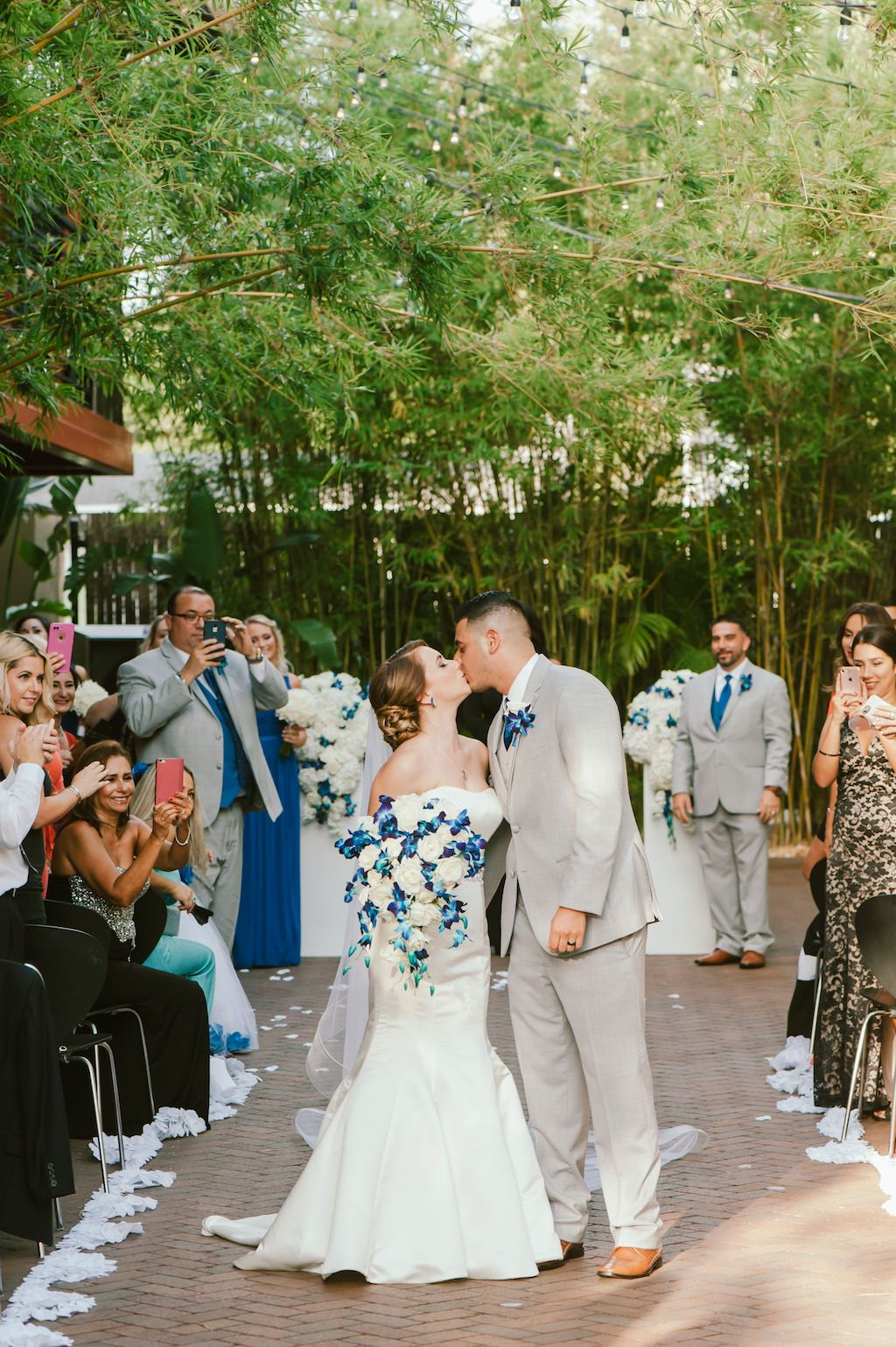 Blue and white wedding ceremony at NOVA 535 in St Pete