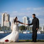 Downtown St. Pete Great Gatsby themed wedding portrait in front of city skyline