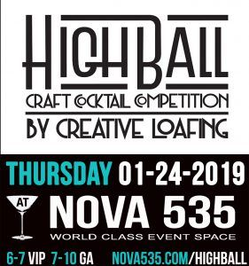 Thursday January 24 2019 it's Highball Competition at historic Downtown St. Pete venue NOVA 535 Unique Event Space