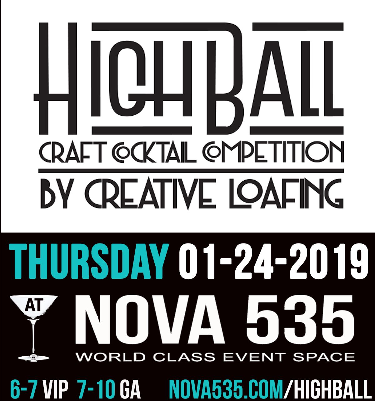 Thursday January 24 2019 it's Highball Competition at historic Downtown St. Pete venue NOVA 535 Unique Event Space