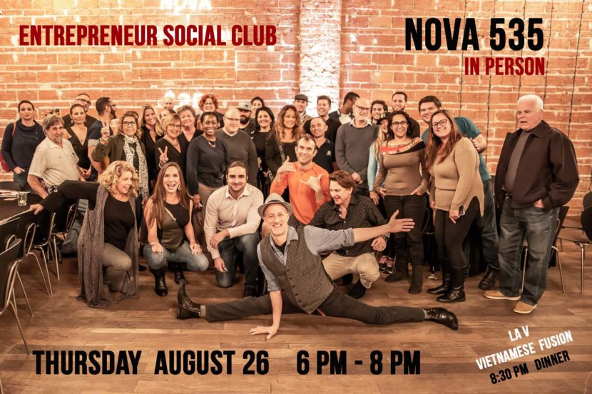2021 08-26 Entrepreneur Social Club at NOVA 535 in downtown St. Pete 6 to 8pm every Thursday