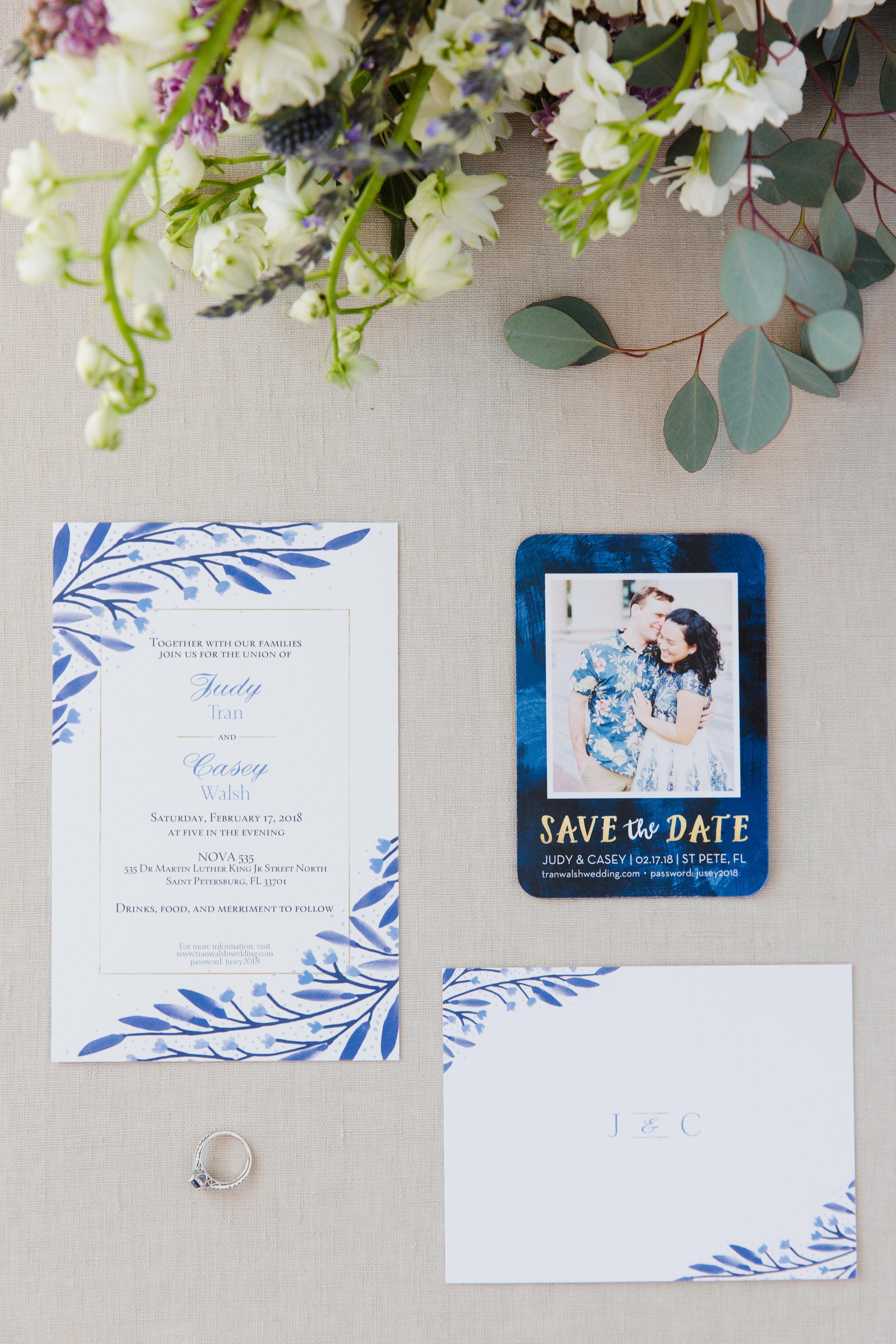 Organic blue wedding invitations