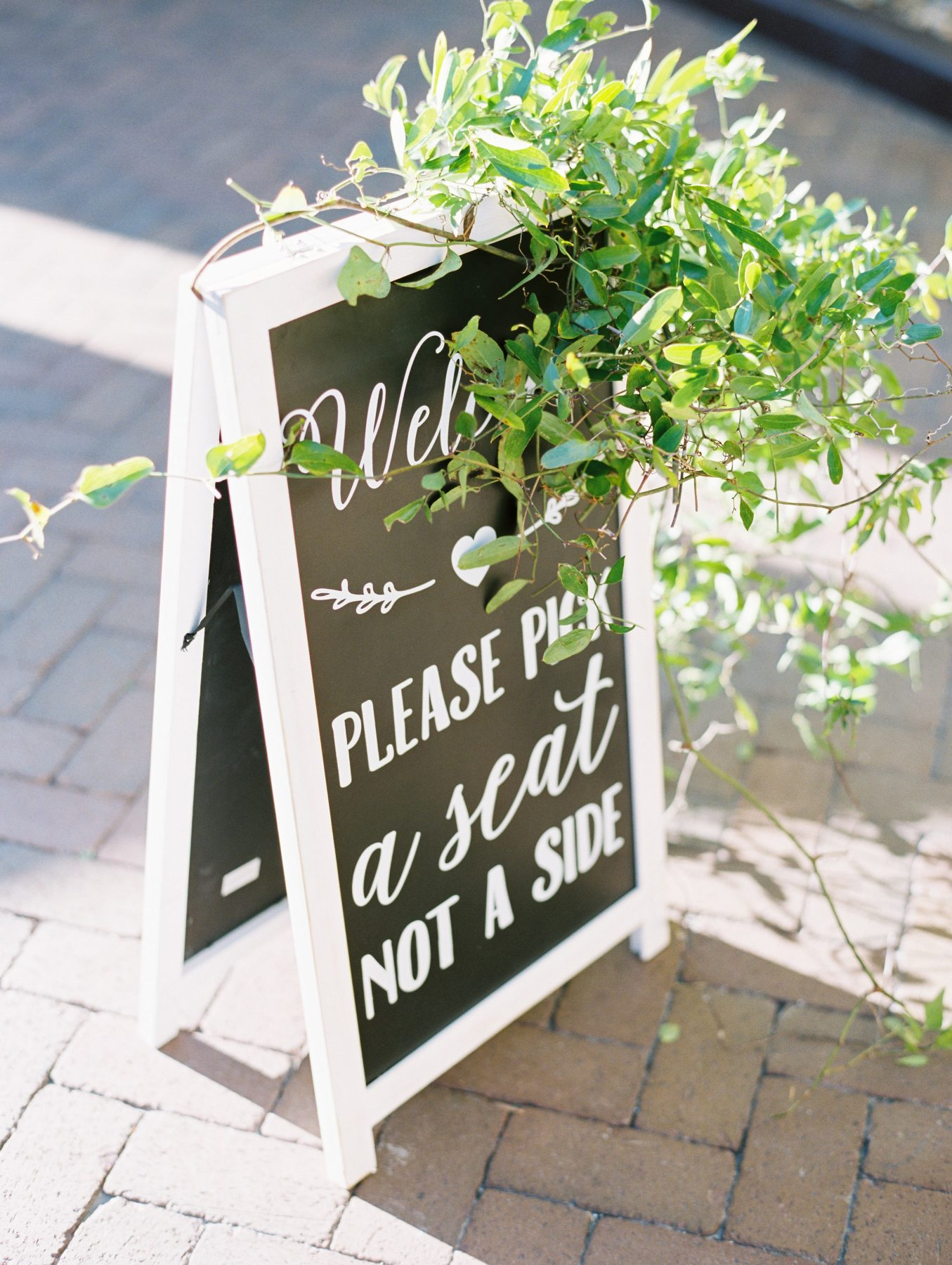 Chalkboard ceremony welcome sign