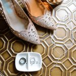 Crystal studded bridal heels