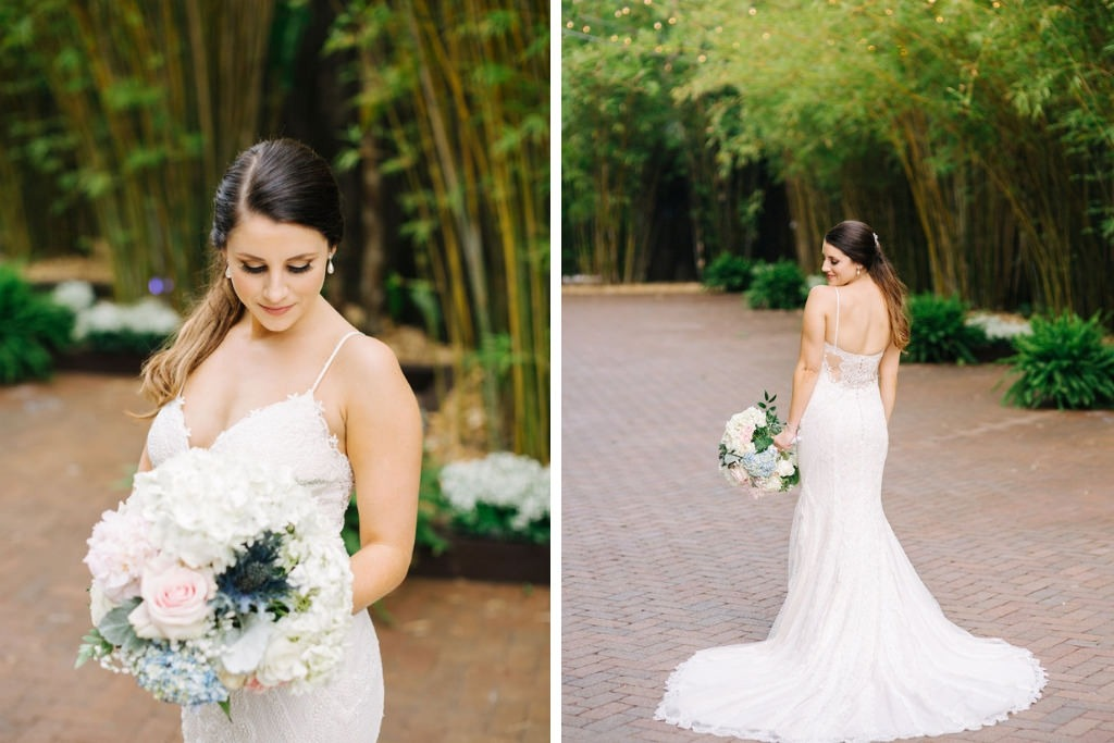 Elegant, Romantic Tampa Bay Bride in White Maggie Sottero Lace Wedding Dress with Cutaway Low Back, Soft Floral Bridal Bouquet with Blush Pink Roses, White Hydrangeas, Blue Thistle, Greenery Flowers, in Florida Bamboo Courtyard | | Downtown St. Pete Unique Wedding Venue NOVA 535
