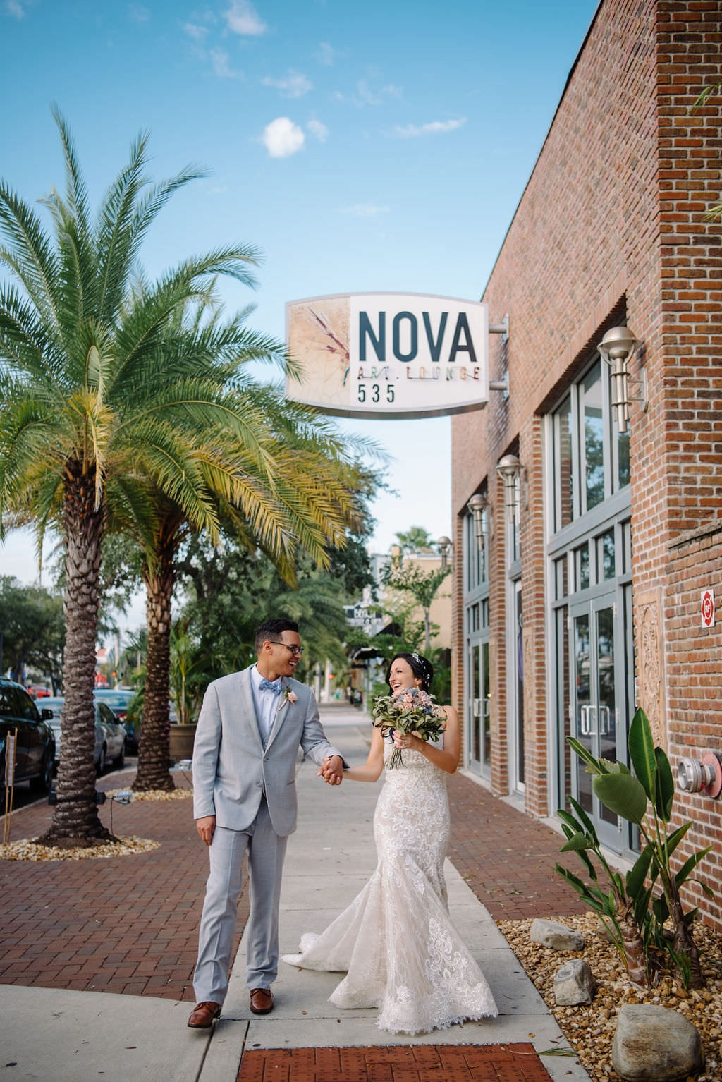 Bride and groom at NOVA 535 in St. Pete