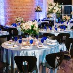 Carolina Baby Blue Wedding Linen Decor and White and Peach Floral Centerpiece with Cobalt Blue Vintage Dishes | Best Downtown St. Pete Wedding Venue NOVA 535