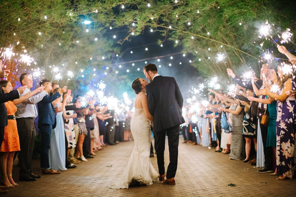 Wedding Sparkler Exit Exotic, Lush Tall Bamboo Garden in Courtyard, Outdoor String Market Lights | Downtown St. Pete Unique Wedding Venue NOVA 535