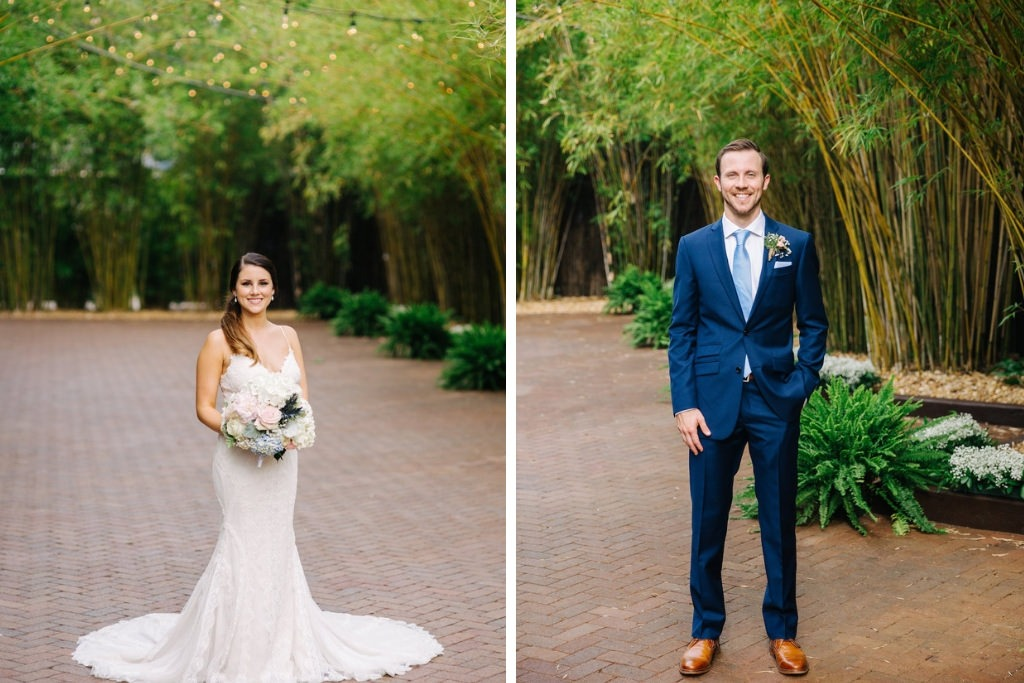 Modern, Florida Bride and Groom in Outdoor Bamboo Courtyard, in White Maggie Sottero Wedding Dress | Downtown St. Pete Unique Wedding Venue NOVA 535