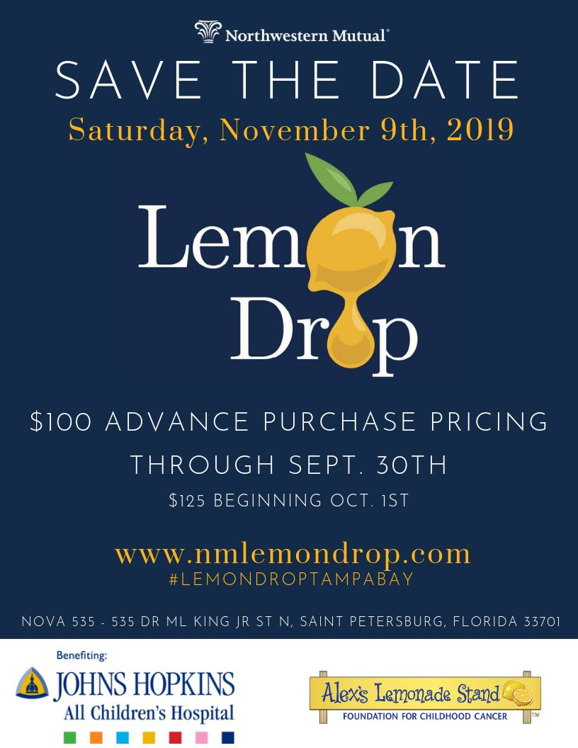 Saturday November 9, 2019 it's Lemon Drop 2019 Charity Fundraiser at historic downtown St. Pete venue NOVA 535