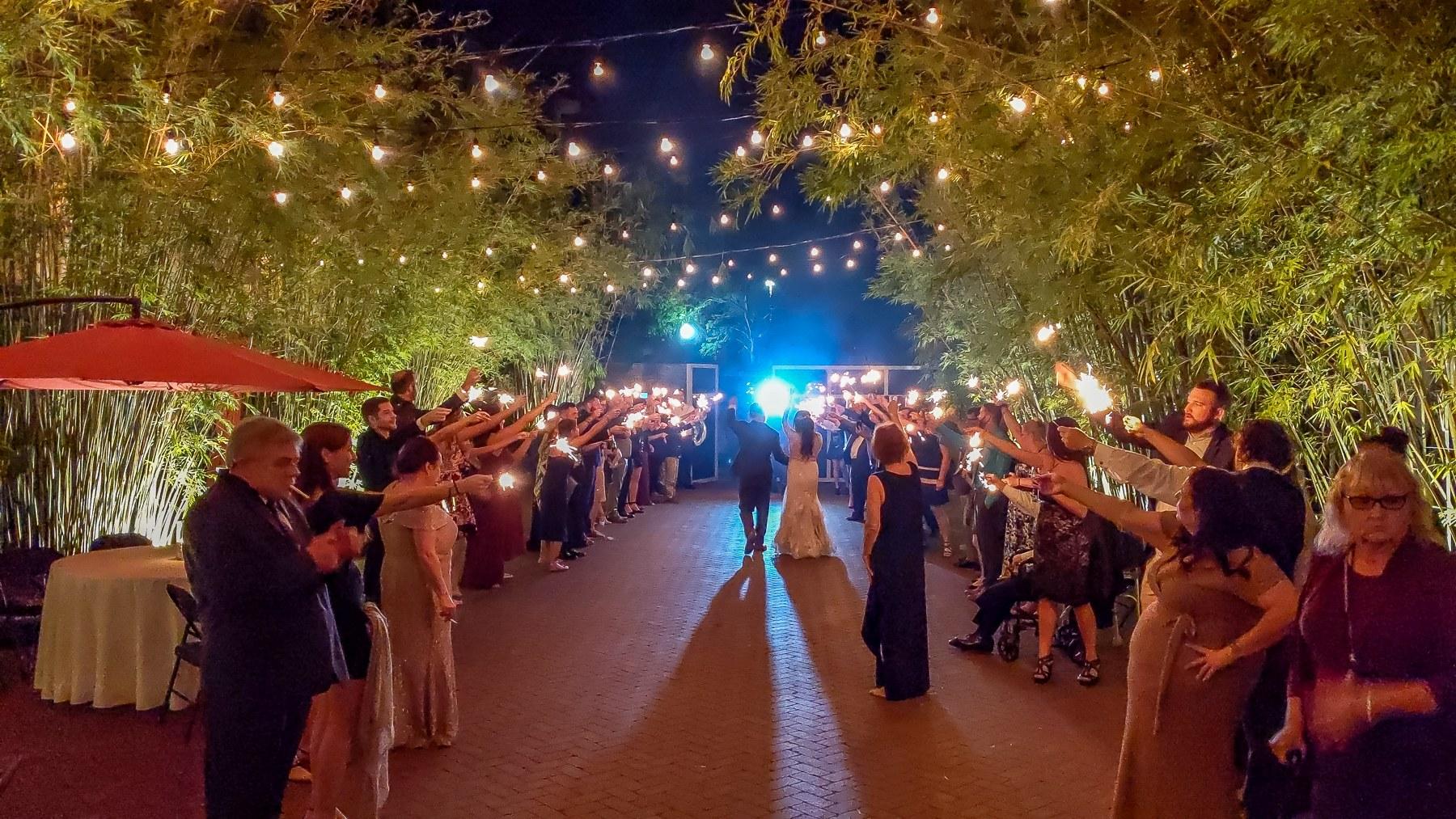2019-11-22 Courtyard Wedding Sparkler Exit