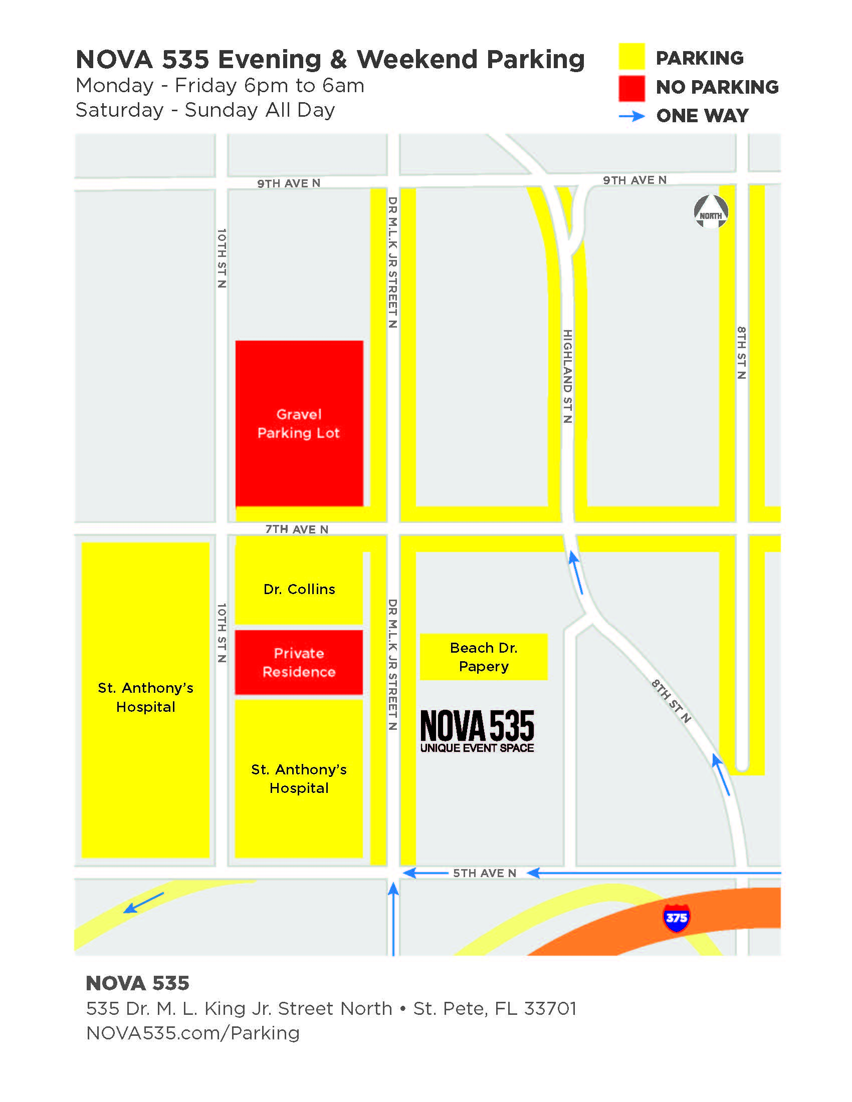 2020 NOVA 535 Parking Map for Nights and Weekends