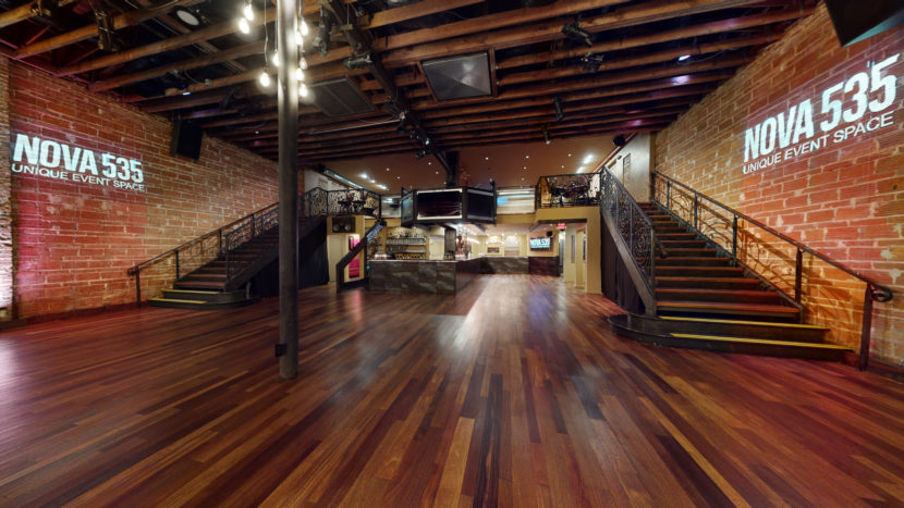 Downstairs, west end, facing east, NOVA 535 unique event space, downtown St. Pete, Florida, where plenty of room for social distancing awaits