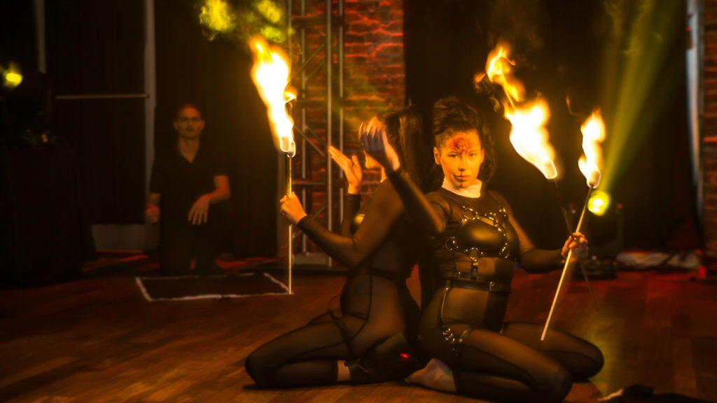 "2020 10-31 Novaween 14 ""Quarantine"" at historic downtown St. Pete, Florida venue NOVA 535 with fire performances by Underground Cirque"